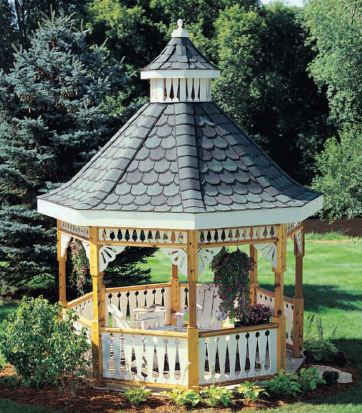 Sample deluxe backyard gazebo plan set download deluxe for Gazebo house plans