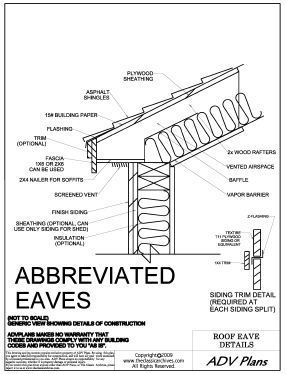 detailed abbreviated eaves for sheds