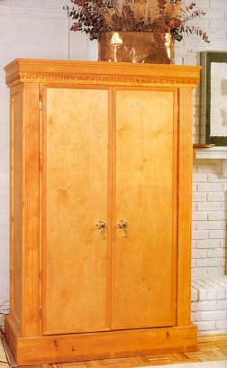 Pine armoire wood furniture plan immediate download for Wardrobe cabinet design woodworking plans