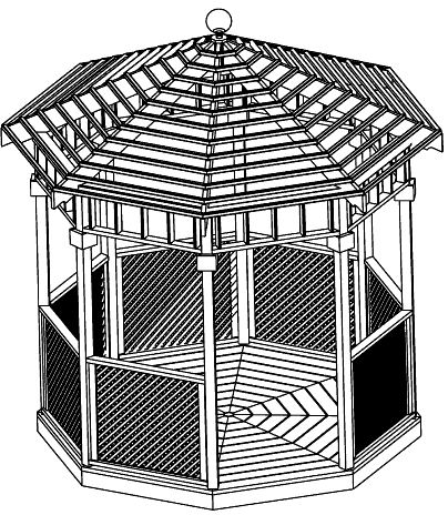 SAMPLE Gazebo Plans 03, 10 ft Open Air Gazebo, IMMEDIATE DOWNLOAD