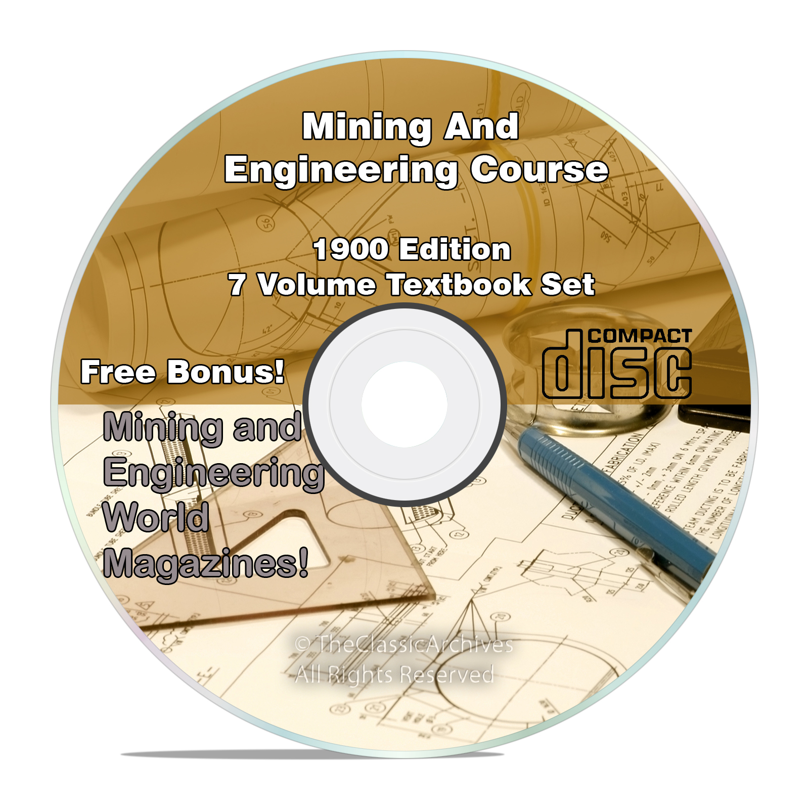 Mining & Engineering Textbook Course, Learn How To Mine Gold, 7 Volume CD