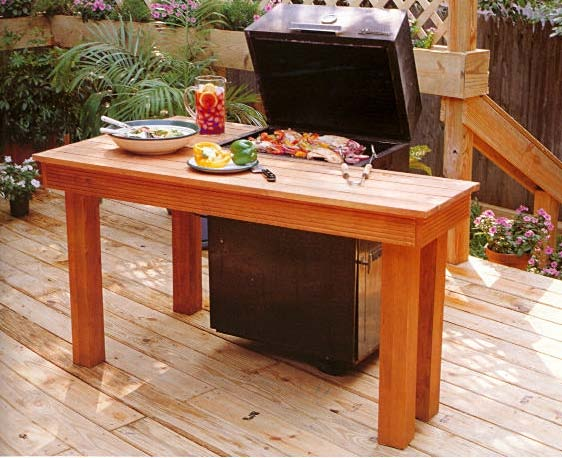 Barbecue Surround Table, Outdoor Wood Plans, IMMEDIATE DOWNLOAD
