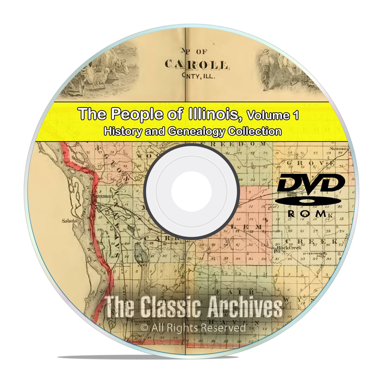 Illinois IL Vol 1, People Cities Towns, History & Genealogy 117 Books DVD