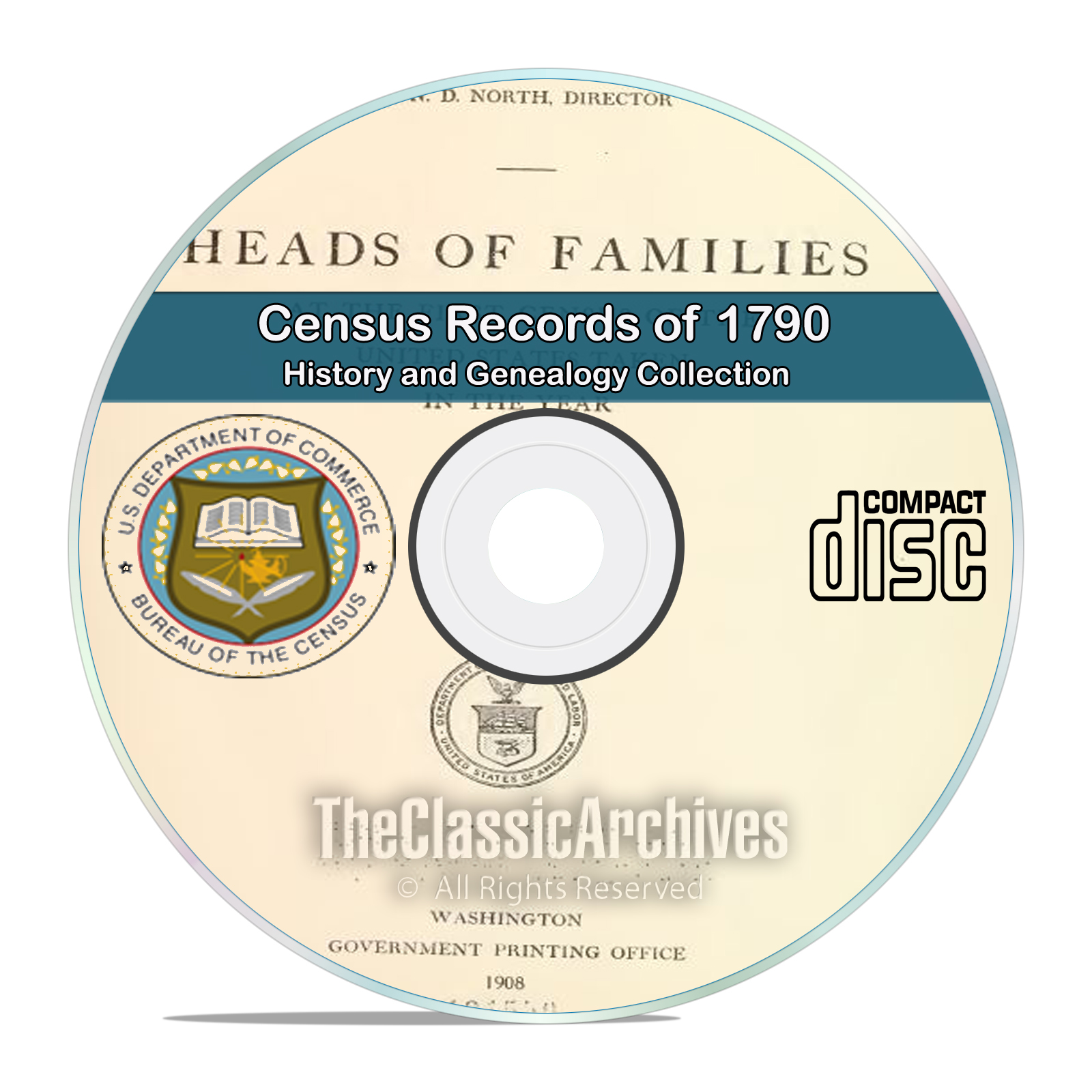 1790 Census Records, 1st ever US Census, 12 out of print volumes CD