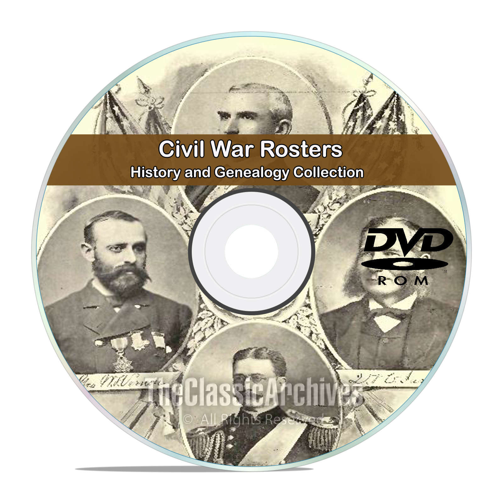 Civil War Rosters, 77 Classic Books, History and Genealogy, Names on DVD