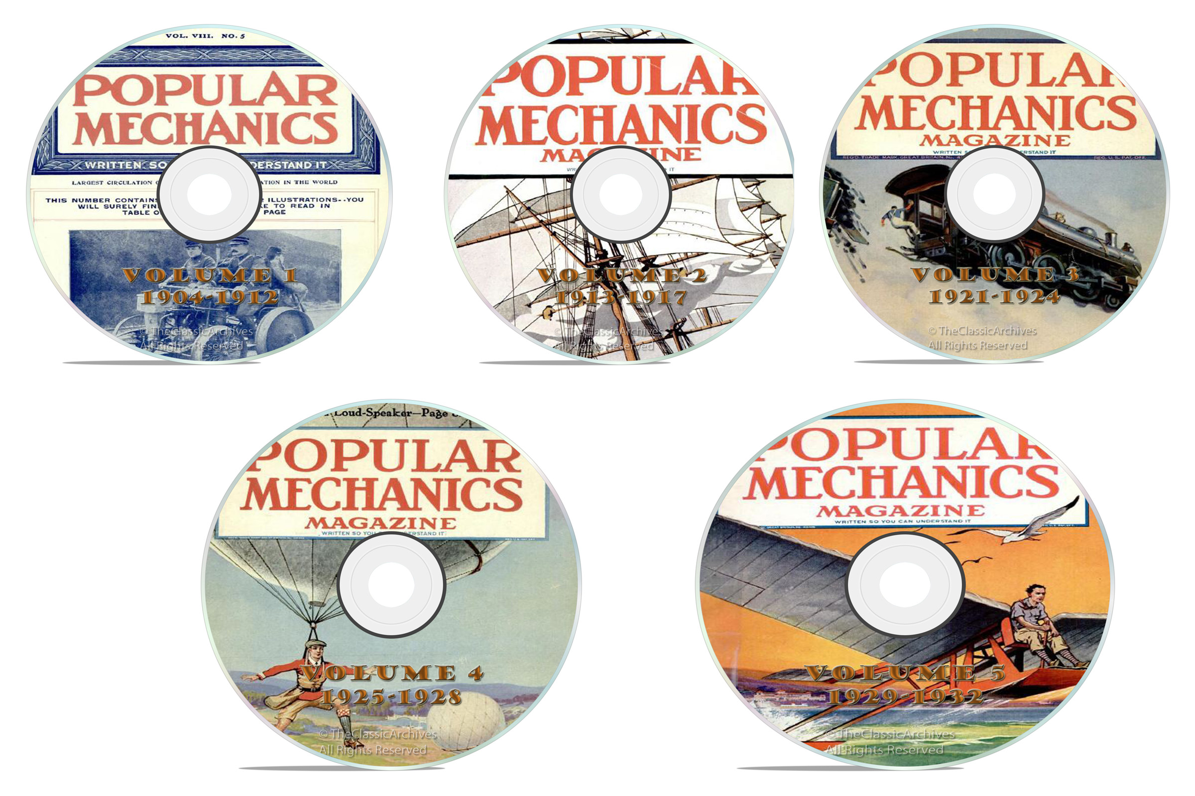 Vintage Popular Mechanics Magazine, 251 issues, 5 DVD Set, 1904-1932 - Click Image to Close