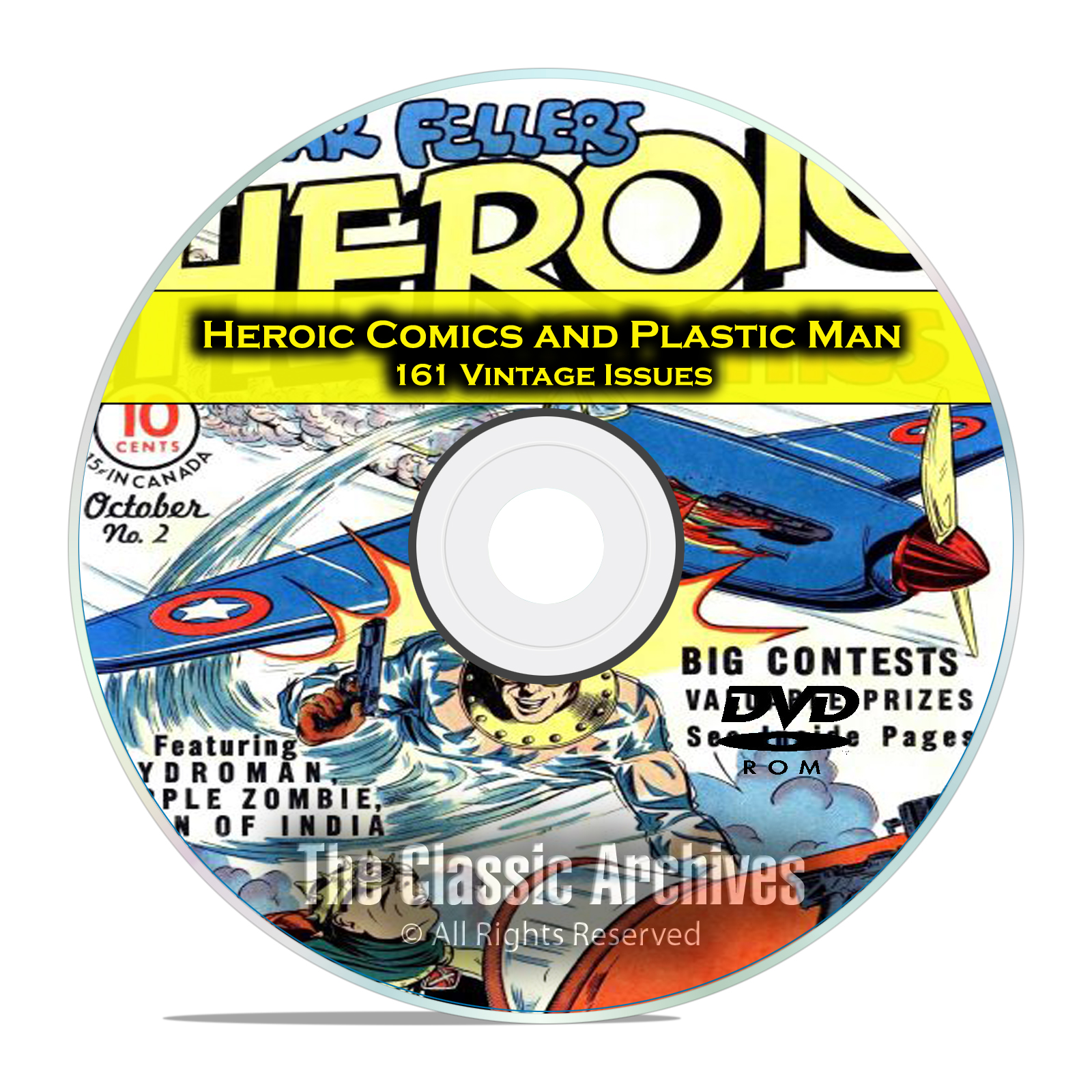 Heroic Comics and Plastic Man 161 Vintage Issues, Golden Age Comics PDF DVD