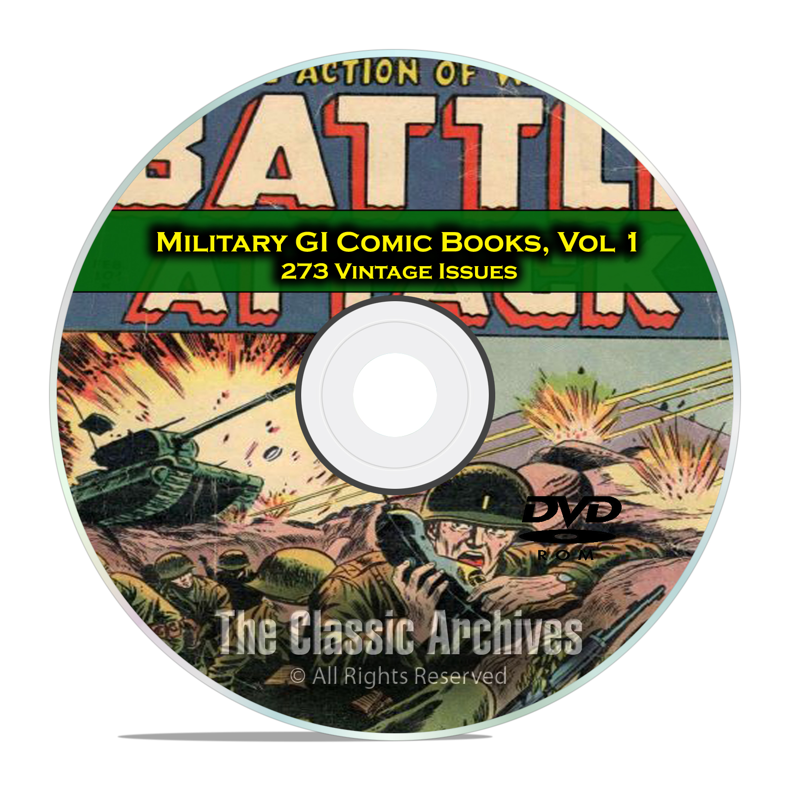 Military, GI Joe, Battle Attack, GI Combat 273 Issues Golden Age Comics DVD