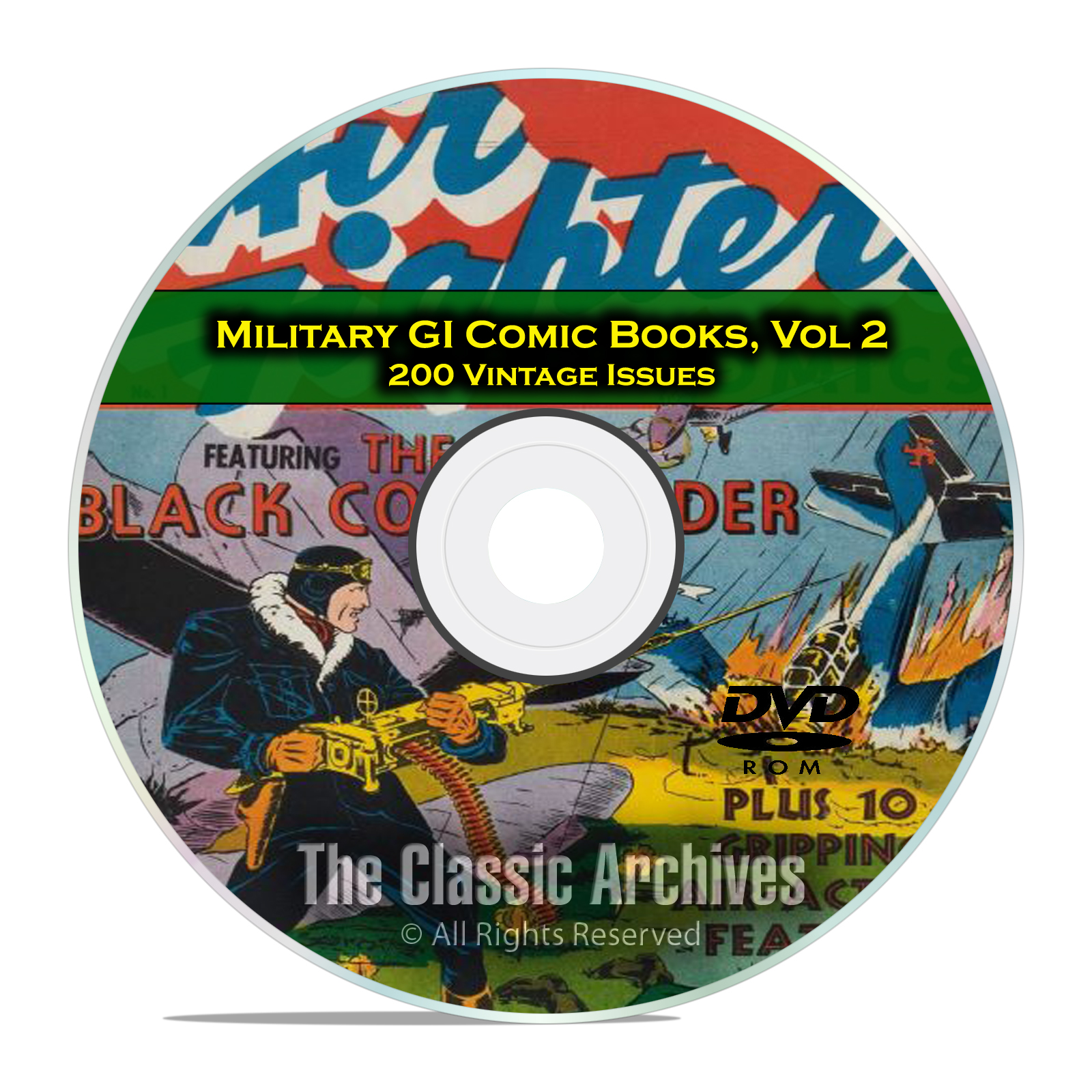 Military, Air Fighters American Air Forces 200 Issues Golden Age Comics DVD