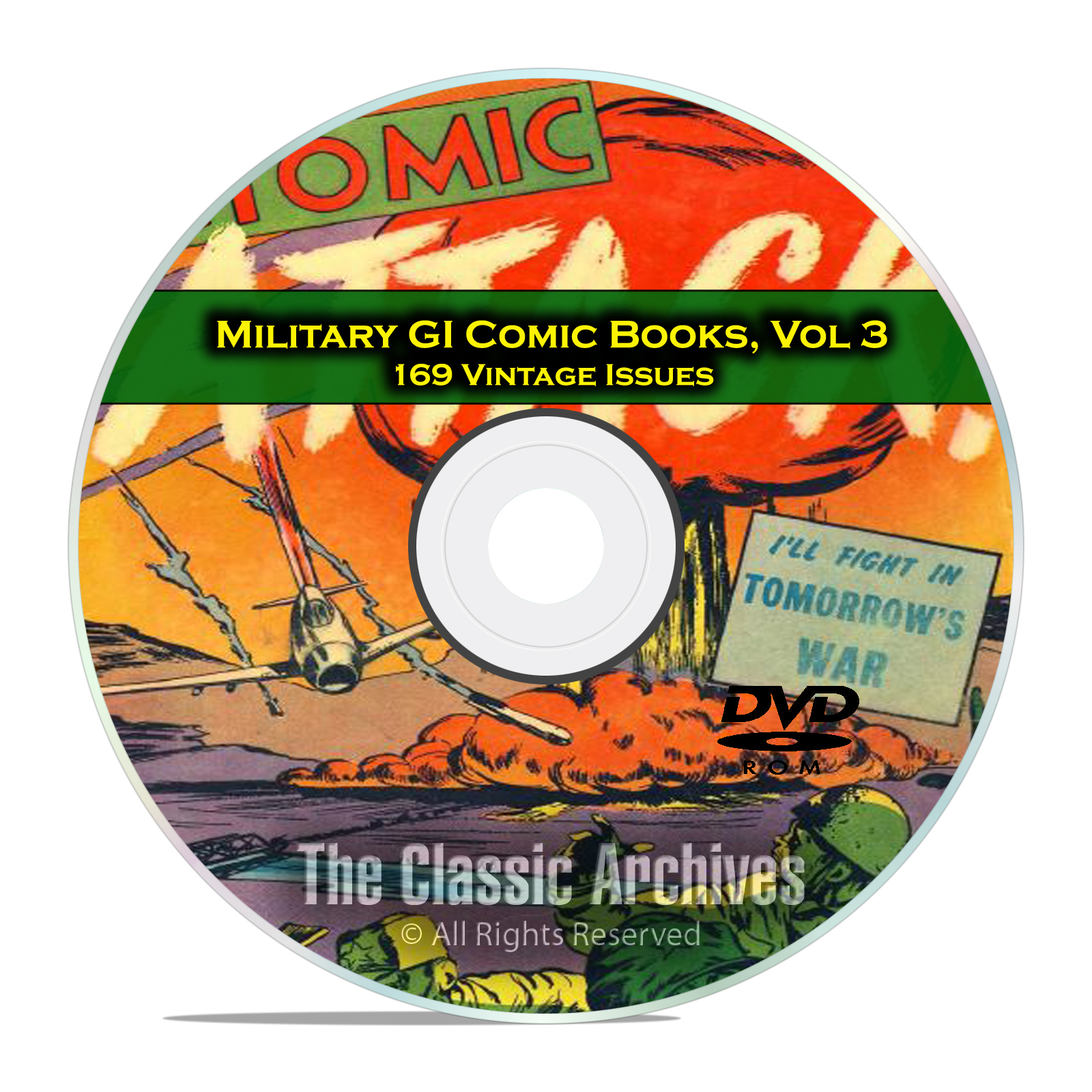 Military, Atomic Attack, Fightin Army, Marines, 169 Golden Age Comics DVD