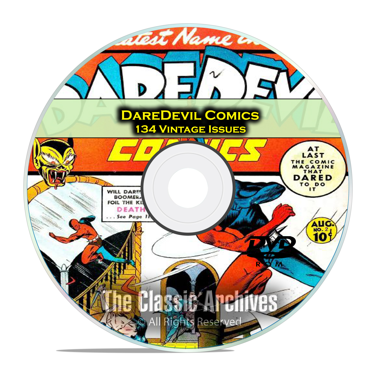DareDevil Comics, 134 Back Issues, Full Color, PDF, Golden Age Comics DVD