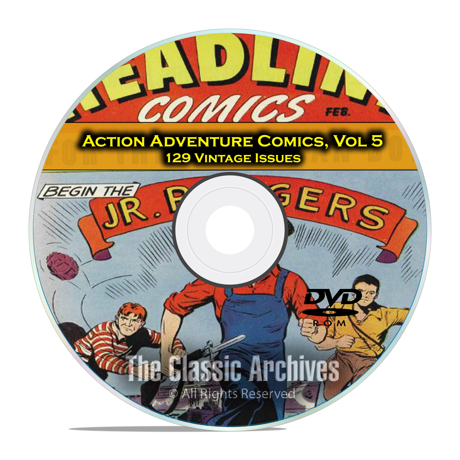 Action Adventure Comics, Vol 5, Headline, Treasure, Rocket, Golden Age DVD