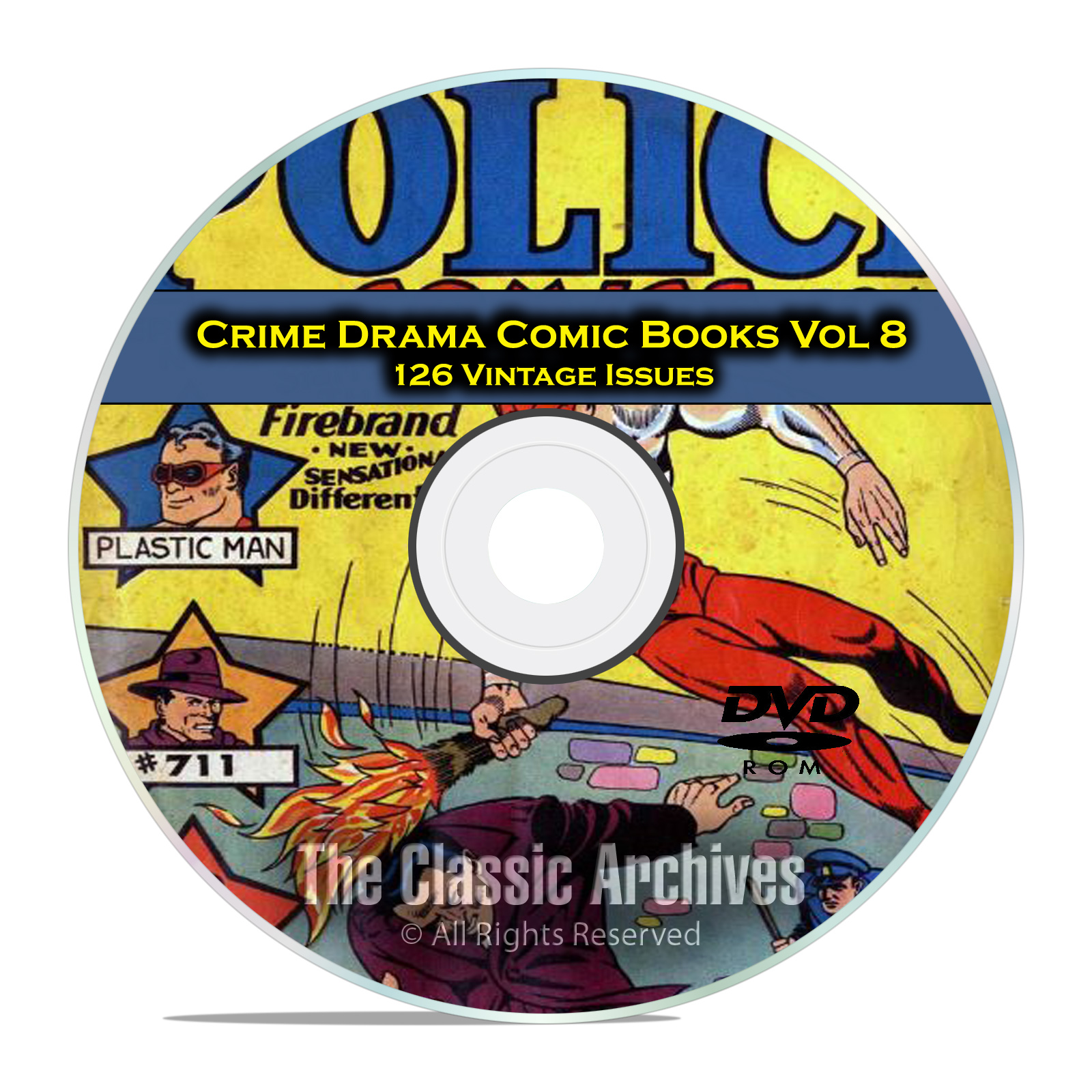 Crime Drama, Suspense, Vol 8, Police Comics 126 Issues Golden Age Comic DVD