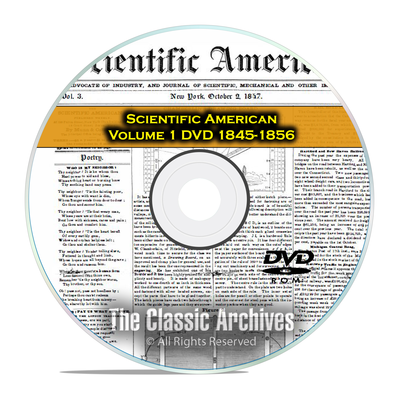 Scientific American, 570 Back Issues, 1845-1856, Vol 1, Science, PDF DVD