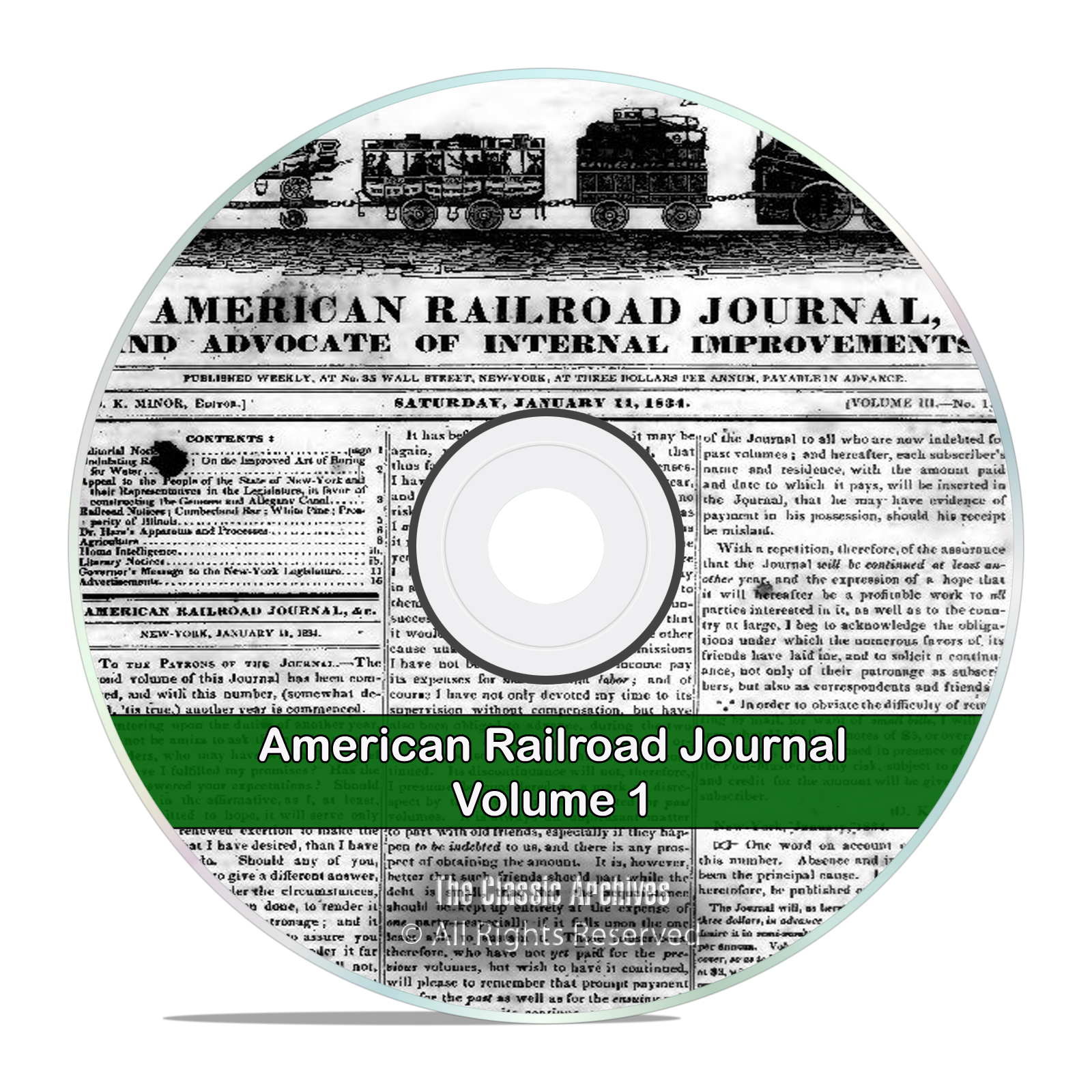 The American Railroad Journal, Volume 1, 1832-1861, 31 Volumes PDF DVD