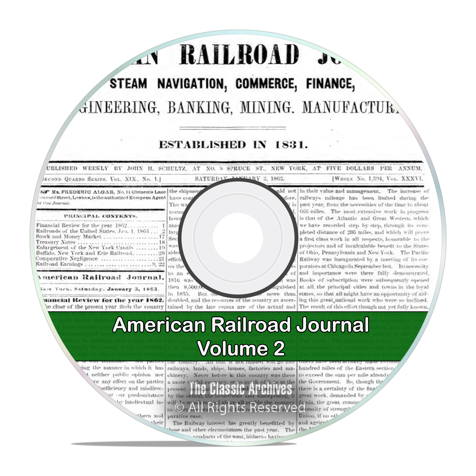 The American Railroad Journal, Volume 2, 1862-1877, 16 Volumes PDF DVD