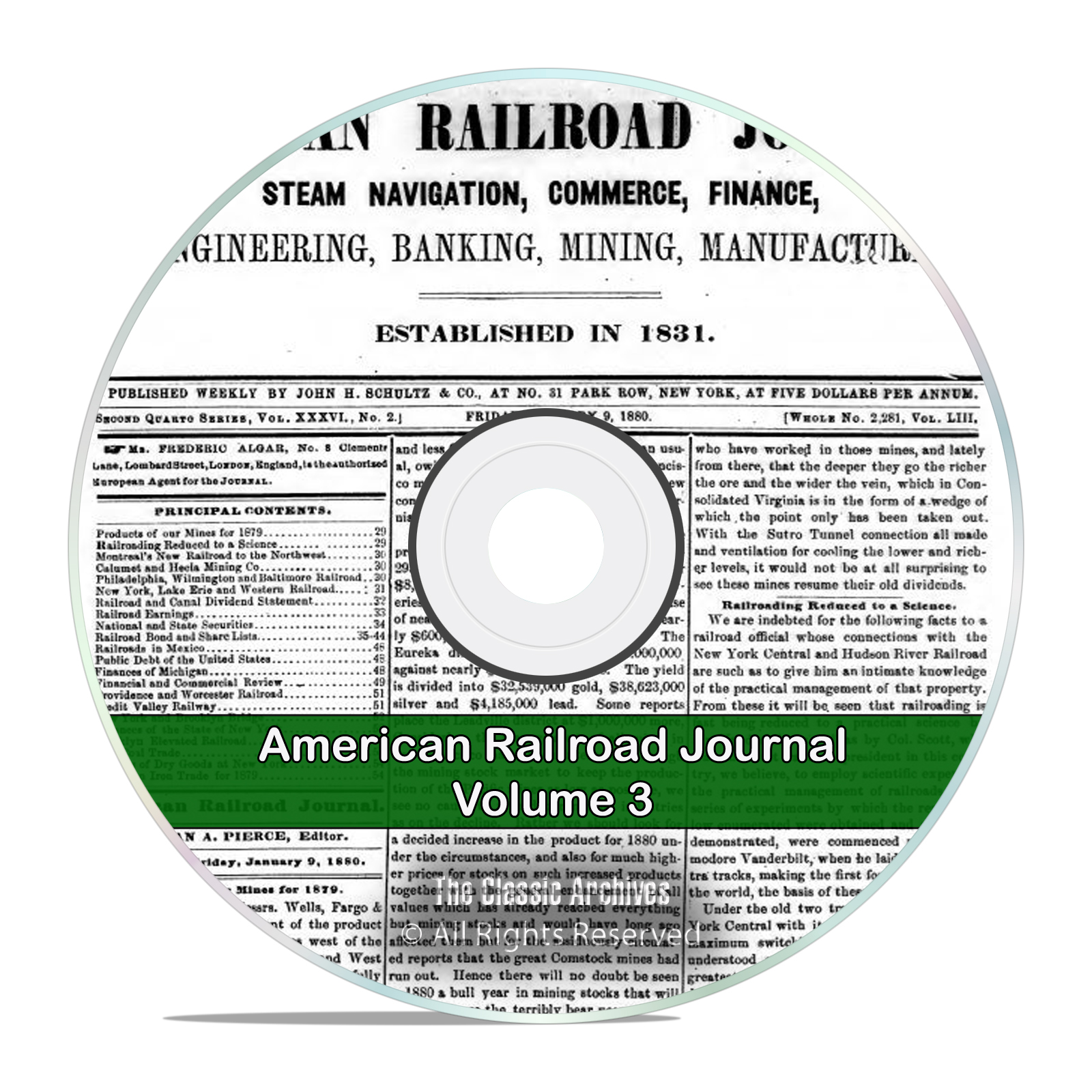 The American Railroad Journal, Volume 3, 1878-1923, 46 Volumes PDF DVD