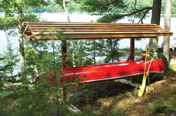 Outdoor canoe storage rack plans cosmecol for Boat storage shed plans