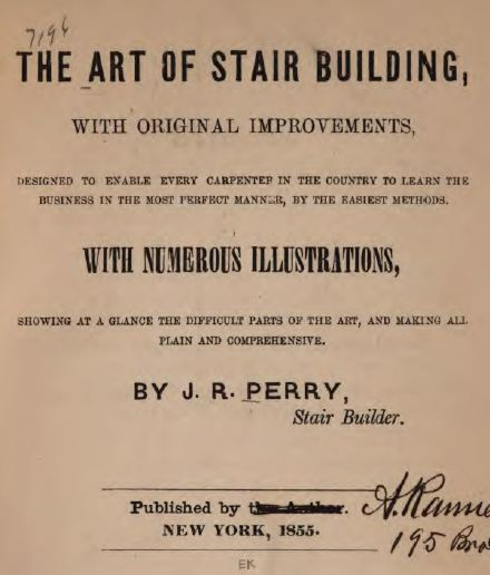 The Art of Stair Building, Vintage Woodworking Book, Download