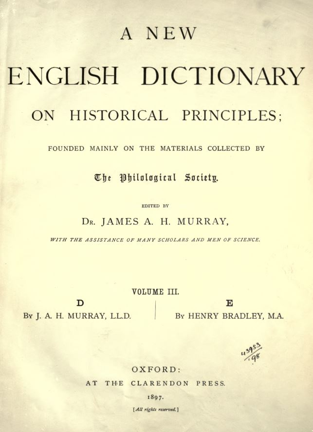 A New English Dictionary on Historic Principles