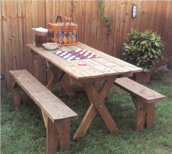 Picnic Table and Benches, Outdoor Wood Plans, IMMEDIATE ...